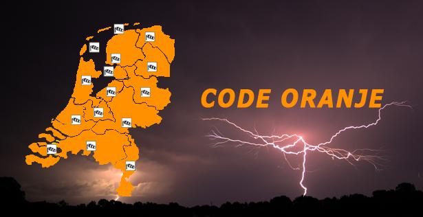 Code oranje: Zware onweersbuien met kans op zware windstoten en grote hagelstenen